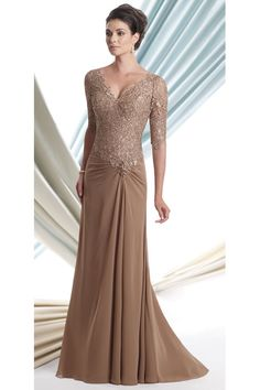 9965ca18ed5 Montage By Mon Cheri 113906 - Georgette chiffon A-line dress with lace  elbow-length sleeves