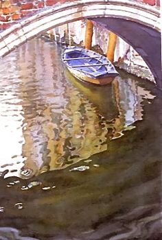Blue Boat and Bridge Venice Joel R. Johnson Watercolor Painting