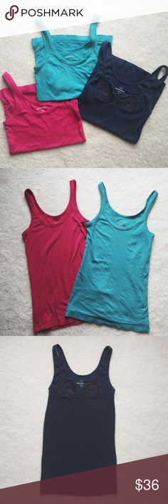 Banana Republic 3 pack tank tops ⋈ Very stretchy and comfy ⋈ Minor wear and pilling ⋈ Purchased from Banana Republic Factory Store ⋈ Price is negotiable! Banana Republic Tops Tank Tops