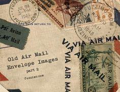 Free Hi-Res Old Air Mail Envelope Images 2 - From Fuzzimo Brosses Photoshop, Airmail Envelopes, Old Stamps, Printable Paper, Mail Art, Vintage Paper, Vintage Clip, Vintage Images, Digital Scrapbooking