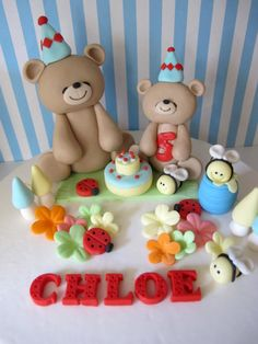 Teddy Bear Picnic Theme Fondant Cake Topper - Handmade Edible Cake Topper - 1 Set via Etsy Fondant Cake Toppers, Birthday Cake Toppers, Wedding Cake Toppers, Birthday Cakes, Birthday Parties, Teddy Bear Cupcakes, Teddy Bear Party, Teddy Bears, Picnic Cake