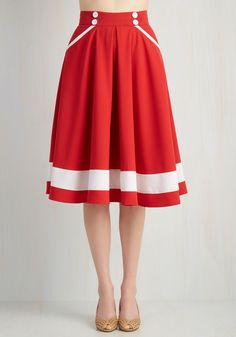 Atlantic Trim Skirt. From Maine all the way to Cote d'Ivoire, youre a coast-hoppin connoisseur in this bold red skirt. #red #modcloth