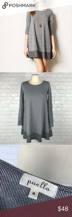 """Anthropologie Puella Herringbone Swing Dress Excellent condition Anthropologie Puella Herringbone Swing Dress. Size Medium. Colorblock hem with elbow patches. Black and white. 89% polyester, 11% rayon. Bust 40"""", Waist 45"""", hips 56"""", length 34"""", sleeve length 25"""". A few small pulls on shoulder. No trades, offers welcome. Anthropologie Dresses"""
