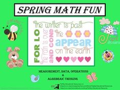 Spring Math Worksheets from TiePlay Educational Resources LLC on TeachersNotebook.com -  - Price $3.00 Spring Math involves Measurement and Data, Operations and Algebraic Thinking skills along with the use of a SmartBoard, white board, projector or document reader.