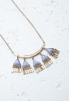 Forever 21 faux stone triangle charms necklace