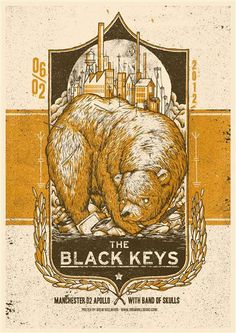 The Black Keys poster by Drew Millward. This band have some pretty bloody cool concert posters.