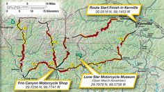 Map of the Three Sisters motorcycle route in the beautiful Hill Country of Texas.