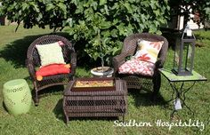 A sunny day outside with Pier 1 Santa Barbara Furniture, Garden Stool and Rania Accent Table