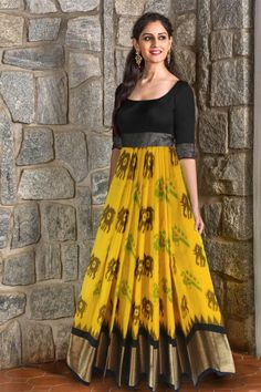 Pochampally Ikkat Black And Yellow Color Lehenga - PochampallySarees - - Pochampally Ikkat Black And Yellow Color Lehenga Body Colour: :Yellow Pallu Colour :Black Blouse Colour :Same As Blouse Washing Care :Only Dry Wash. Lehenga Designs, Half Saree Designs, Kurti Designs Party Wear, Saree Blouse Designs, Long Dress Design, Dress Neck Designs, Long Gown Dress, Lehnga Dress, Frock Design