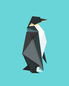 Fractal geometric emperor penguin Art Print
