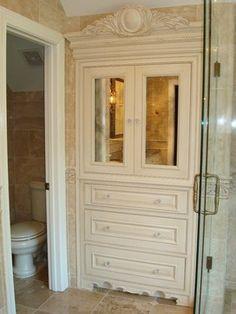 Built-in Linen Hutch in Grand Master Bathroom - Dura Supreme Cabinetry by Essence Design Studios