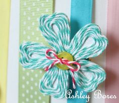 Twine flower....The Twinery// cute idea for cardstock flower templates I have