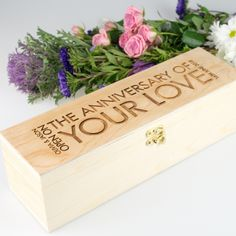 Engraved LIMITED EDITION Wooden Wine and Champagne Box - Natural <3