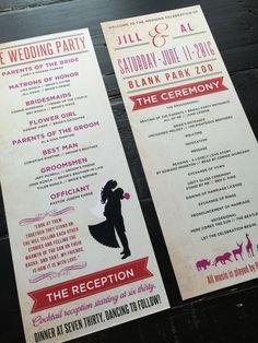 Wedding Programs custom zoo themed program by TheDesignBrewery