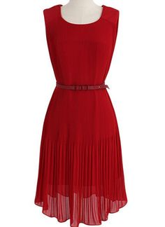 Red Sleeveless Pleated Belt Chiffon Dress - Sheinside.com