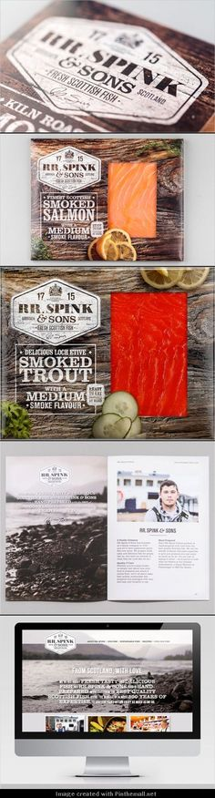 Branding and Packaging for Fish Brand, 'RR. Spink & Sons. who like salmon #packaging I do, I do PD