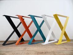 "Image of 28"" X-Frame Wide Flat Steel Table Legs,24"" Width Base, Set(2)"