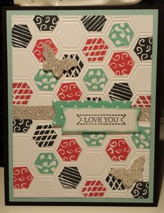 Stampin Up Undefined six sided sampler Hexagon Card made using stamps that I carve by myself. If this doesn't convince you to give undefined a try, I don't know what will. It so much fun and soooooo addictive. Gloria Kremer Girlfriend Originals