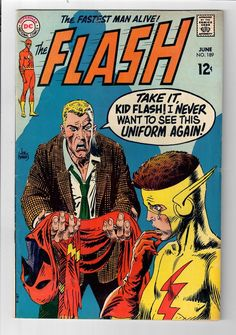 From June here's Flash Cover by Joe Kubert. Flash was forever taking his uniform off and displaying it on the covers of his comic. Flash Comic Book, Dc Comic Books, Comic Book Artists, Comic Book Covers, Comic Art, Flash Comics, Marvel Comics, Marvel Dc, Don Corleone