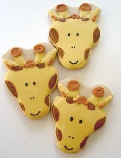 Cute Giraffe Sugar Cookies Hand Decorated Party Favors Jungle Birthday for Boy or Girl Baby Shower Animal Print. $34.00, via My sisters baby shower!