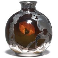 Rookwood pottery vase overlaid with Gorham silver, executed by Sallie Coyne in 1898