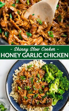 Healthy Slow Cooker Honey Garlic Chicken Thighs. Just 8 ingredients! Juicy chicken in a sweet, sticky honey garlic sauce. Our entire family loves this easy, healthy crockpot recipe! #wellplated #crockpot #slowcooker via @wellplated