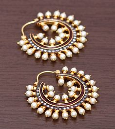 Golden & White Embellished Earrings #accessories