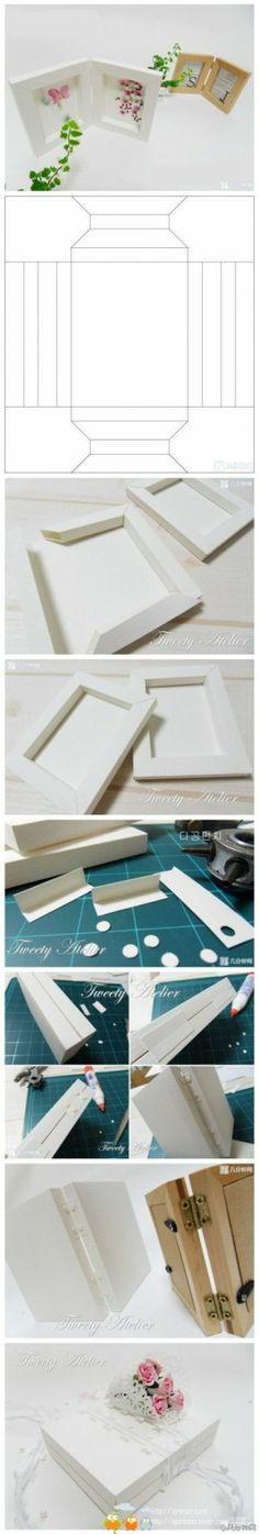 Great Idea For Photos DIY shadow box style frame. Origami Paper, Diy Paper, Paper Crafting, Paper Art, Origami Box, Papier Diy, Ideias Diy, Paper Frames, Box Frames