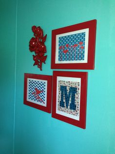 Teal and red wall decor