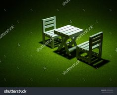 White Wooden Chairs And Table On Artificial Grass. Light Shining Down From Above In The Dark Tone Stock Photo 493656454 : Shutterstock