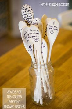 "Wedding Shower ideas; do the food version of ""Date Night Sticks."" Have guest bring recipe cards and write the meal on one of the wooden spoons. Then you can choose a random meal when you don't know what to fix."