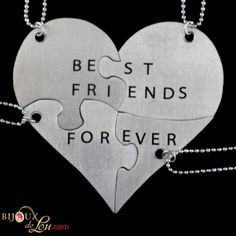 Stainless Steel Best Friends Forever 4-Piece Necklace Set: Made of lasercut stainless steel with a silver color, the heart is 3 inches at the widest point when assembled. It breaks into 4 puzzle piece pendants, each with its own matching 24 inch long silver-plated necklace chain. Limited quantities available. Also sold in a brass version.