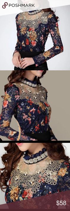 Beaded Lace Floral Pearl Blouse Top S Super fancy blouse for tea parties! Gorgeous and stunning. Tops Blouses