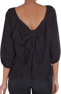 Humble Chic Womens Bow Back Blouse  Black  MEDIUM  Long Sleeve Chiffon Top Black >>> Click on the image for additional details.