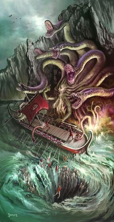 Once they have passed the Siren's island, Odysseus and his men must navigate the straits between Scylla and Charybdis on their epic journey. Scylla is a six- headed, and twelve-legged monster who, when the ships pass, swallows one sailor for each head. The Scylla ends u eating six of Odysseus' men. This creature has supernatural powers.