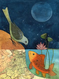 The Fish and the Bird from Gennine's Art Blog.  Gennine is an amazing watercoler/collage artist living in Mexico.  Love her work.