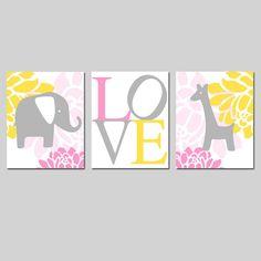 Modern Elephant Giraffe Love Trio  Set of Three 8x10 by Tessyla, $55.00