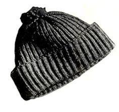Man's Skating Hat knit pattern from Sweaters for Men & Boys, originally published by Jack Frost, Volume No. 40, from 1947.