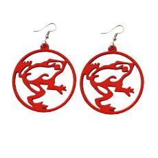 Punaiset puiset sammakkokorvikset