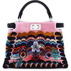 Fendi Peekaboo Mini Embroidered Velvet Bag (€6.890) ❤ liked on Polyvore featuring bags, handbags, shoulder bags, black multi, mini handbags, fendi purses, satchel purses, fendi shoulder bag and floral handbags