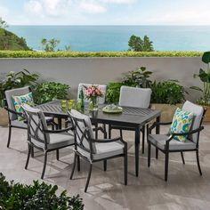 Black Outdoor Furniture, Pool Furniture, Furniture Sale, Outdoor Dining Set, Outdoor Decor, Patio Dining, Dining Chairs, Dining Table, Outdoor Spaces