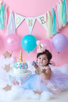 Princess First Birthday, 1st Birthday Party For Girls, Unicorn Themed Birthday Party, 1st Birthday Pictures, Birthday Party Outfits, Baby First Birthday, Birthday Party Decorations, Birthday Tutu, Birthday Ideas