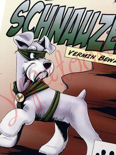 Todos los perros son superhéroes, pero cada raza tiene su propia historia. Todos mis diseños están impresos en alta calidad, 8.5 x 11, papel natural de 64 lb con contenido de trapo 100% algodón. Tamaño de la imagen es de 6.75 x 10. Cada impresión viene firmado por mi mano. :) (Esto no Schnauzer Puppy, Miniature Schnauzer, Schnauzers, Baby Animals Pictures, Funny Animals, Cute Animals, Cute Puppies, Cute Dogs, Smartest Dogs