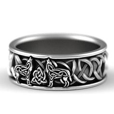 Ring design as shown above, with 2 wolves. A truly unique ring design that you wont see anywhere else! An intricate design of a howling wolf, detailed and distinctive. The silhouette is created with Celtic knots and blends seamlessly with the traditional Celtic knots that surround it.