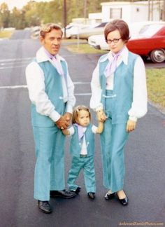 +~ Vintage Color Photograph ~+  My eyes, my eyes!  Taken in the Fall of 1970.  It appears the Mom and daughter aren't real happy about the choice of attire either.
