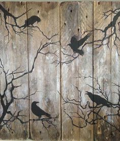 Ravens at Dusk. Painting on reclaimed rustic wooden pallet.