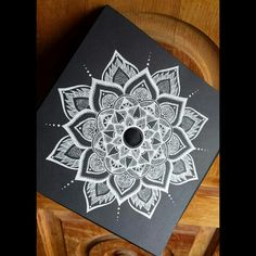 White mandala on chalkboard or black canvas. Graduation Cap Designs, Graduation Cap Decoration, High School Graduation, College Graduation, Graduation Ideas, Decorated Graduation Caps, Graduation Hats, Grad Hat, Cap Decorations
