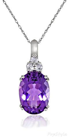 10k White Gold Amethyst Necklace