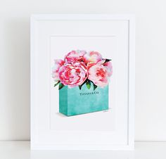 Teal Blue fashion shopping bag with watercolor peonies, Fashion Painting, Fashion Print Breakfast at fashion illustration flowers gift for by AmandaGreenwoodArt on Etsy Watercolor Fashion, Fashion Painting, Watercolor Artwork, Watercolor Flowers, Teal Art, Pink Art, Teal Blue, Chanel Art, Fashion Wall Art