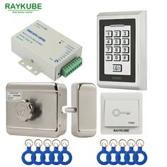 RAYKUBE Electric Motor Lock Access Control System Kit + Metal Password Keypad+Exit Button+ID Keyfobs Electric Lock Full Kit #Affiliate